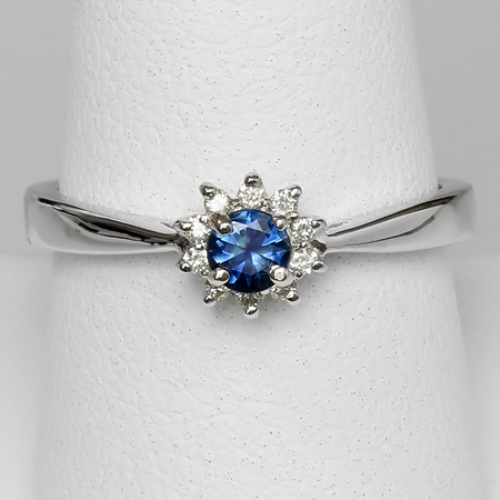 Blue Montana Sapphire & Diamond 14kt Gold Flower Ring