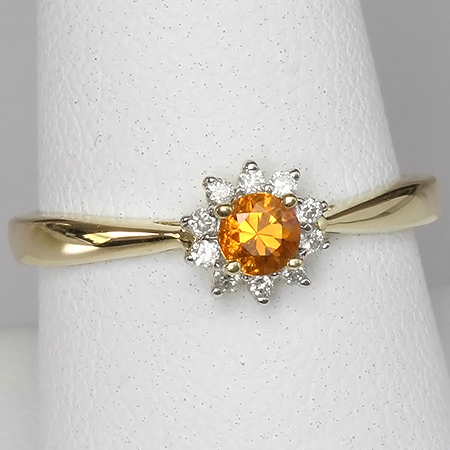Orange Montana Sapphire & Diamond 14kt Gold Flower Ring
