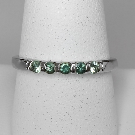Green Montana Sapphire 14kt Gold Stacking Band