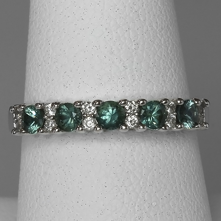 Green Montana Sapphire & Diamond 14kt Gold Anniversary Band