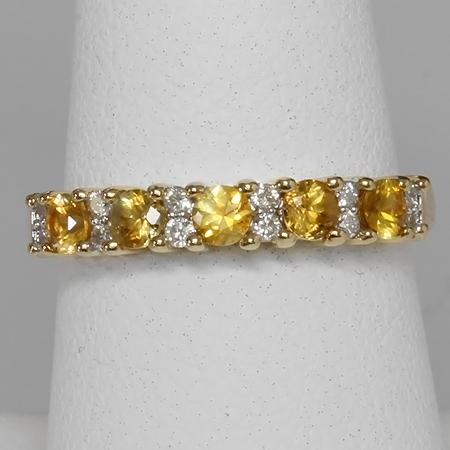 Yellow Montana Sapphire & Diamond 14kt Gold Anniversary Band