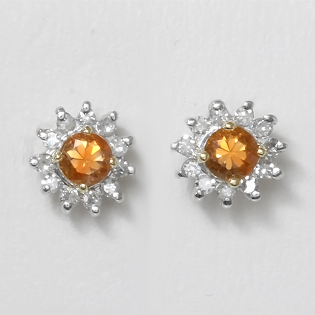 Orange Montana Sapphire & Diamond Flower 14kt Gold Earrings