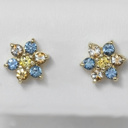 Blue & Kaleidoscope Montana Sapphire 14kt Gold Flower Earrings