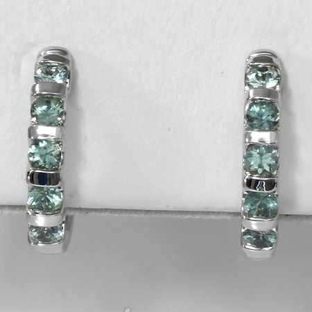 Green Montana Sapphire 14kt Gold Hinged Hoop Earrings